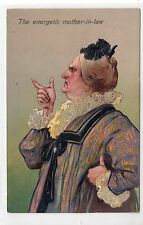 THE ENERGETIC MOTHER-IN-LAW: Embossed comic postcard by PFB (C20974)