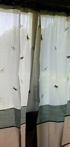 PERI Fabric Shower Curtain Embroidered Butterflies Ivory Green Tan RN 30221 EUC