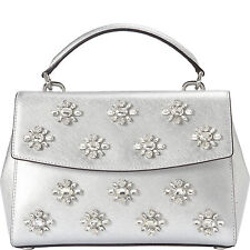 MICHAEL MICHAEL KORS AVA JEWEL SMALL SILVER LEATHER TOP HANDLE SATCHEL BAG