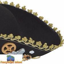 Steampunk Tricorn Black & Gold Cogs Hat Ladies Fancy Dress Accessory