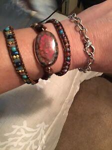 """Leather Emperor Jasper """"Supreme Nurturer"""" Wrap Bracelet Natural Stones"""