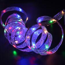 4M LED À Piles Fil Cuivre Ruban Soie Guirlande Lumineuse Décor Arbre Noël Cadeau