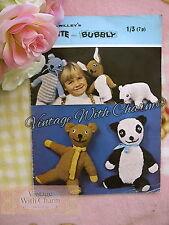 Vintage 70s Toy Knitting Pattern 2 Animal Glove Puppets & 3 Soft Animal Toys.