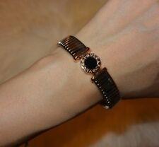 BVLGARI BULGARI Tubogas Bangle Bracelet Steel Rose Gold Onxy $4029 Excellent