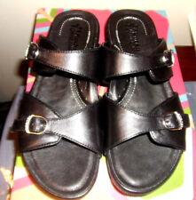 Womens sz40, US sz 9-9.5 NEW Rocky 4eurSole Black Leather Comfort Sandals slides