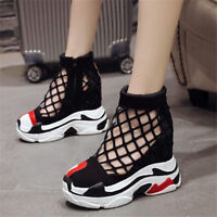 Chic Women High Heel Platform Wedge Hollow Sneaker Sport Ankle Boots Creepers