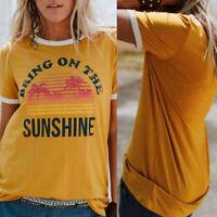 Summer Women Bring On The Sunshine Letter Print Short Sleeve O-Neck T-Shirt SMAR