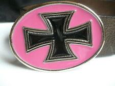 New Men Women Belt Buckle Western Fashion Silver Metal Religious Cross Pink Oval