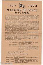 VINTAGE POSTER / MASACRE DE PONCE / PARTIDO NACIONALISTA DE PUERTO RICO / 1972