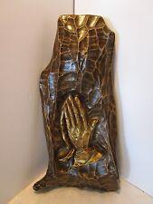 """Fiberglass Praying Hands Wall Plaque HODA 1972 Home Decor Art Sculpture 21"""" tall"""