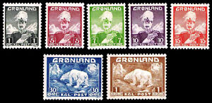 1938-46 GREENLAND KING CHRISTIAN X & POLAR BEAR - OGHR - VF - CV$31.30 (E#2655)
