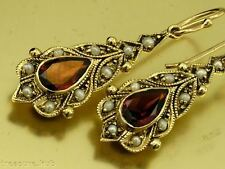 SUPERB Genuine 9ct Solid Gold NATURAL Garnet & Pearl Vintage style Drop Earrings