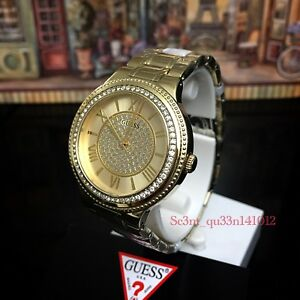 AUTHENTIC GUESS LADY MADISON GOLD TONE WATCH W0637L2 RRP:$399  Brand New