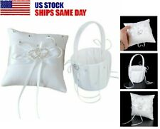 Satin Crystal Heart Bridal Wedding Party Flower Girl Basket Ring Bearer Pillow