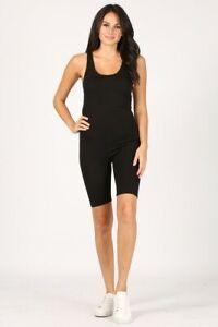 Romper bodysuit racerback bodycon stretch spandex sleeveless scoop neck Black