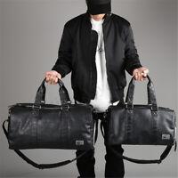 Large Men Waterproof Leather Travel Gym Bag Weekend Duffle Fitness Tote