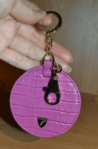 ASPINAL OF LONDON Purple Matte Moc Croc Leather Key Ring New Gold Hardware Disc