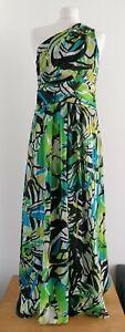 M&co beautiful green maxi dress, Uk14, chiffon, tropical, one shoulder, wedding
