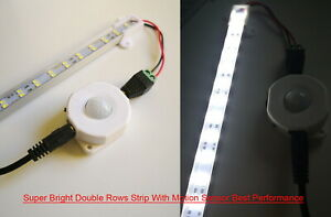 LED Strip Night Light 12V Day White PIR Motion Sensor Stairs Cabinet Closet Lamp