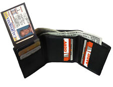 GENUINE LEATHER BLACK MEN TRIFOLD THIN WALLET 9 Credit Card Flap Top