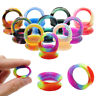 1 Pair Silicone Ear Plug Double Flare Saddle Flesh Tunnel Stretcher Gauge 6-20mm