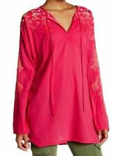 $243 JOHNNY WAS JESSICA BLOUSE EMBROIDERED TUNIC TOP PINK BERRY COTTON SZ 3X NWT