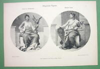 ART NOUVEAU Era Original Print 1898 - Muses or Renaissance & Modern Art