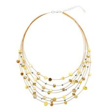 Beaded Multi Strand Necklace and Drop/Dangle Earring Set-Yellow M5F3