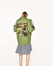 ZARA parka jacket with back print green size L 14 Spring 2018