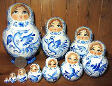 Genuine Russian stacking dolls 10 White Blue Matryoshka birds MARCHENKO Babushka
