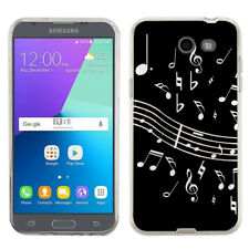 TPU Case for Samsung Galaxy J3 Luna Pro 4G LTE / Eclipse - Music Notes / Black