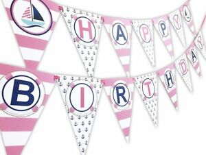 Nautical PINK Happy Birthday Banner Pennant - Sailboat Party Banner - Made in