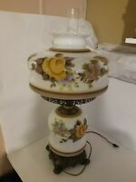 Vintage Large 29 Inch Floral Hand Painted 3 Way Hurricane lamp