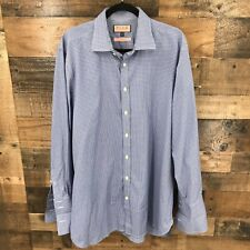 Thomas Pink Men's Blue And White Plaid Classic Fit Long Sleeve French Cuff