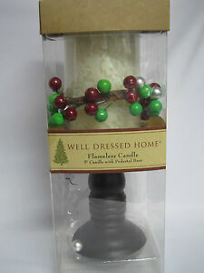 Well Dressed Home Flameless Candle 5 inch Pillar Candle Wooden Pedestal Base