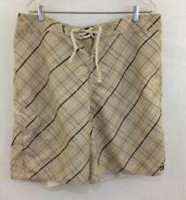 Quicksilver board Shorts Men's Beige Brown Plaid Front Tie Swim Trunks Size 38