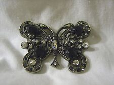 Metal Pin Brooch Brand New Large Butterfly Clear Black Crystal Rhinestone