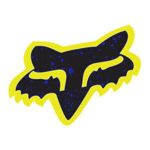 "Fox Racing Splatter Fox Head Sticker Decal Logo Motocross 7"" Purple / Yellow"