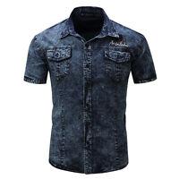 Mens Short Sleeves Jeans Shirts Denim Washed Cotton Slim Fit Multicolor WD127