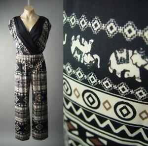 Sale Elephant Print Wide Leg Wrap Dress Pants Evening 296 mvp Jumpsuit S M L