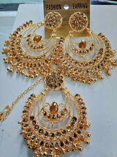 Indian Ethnic Jumka Jumki Maang Tikka Bollywood Gold New Fashion Earrings  B 200