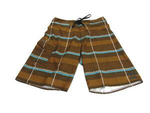 Billabong Shorts Brown Blue White Plaid Platinum X PX3 Stretch Swim Board Men 31