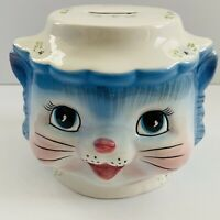 "RARE 2003 LEFTON ""MISS PRISS"" BLUE KITTY HAND PAINTED COIN BANK 4 5/8"" TALL HTF"