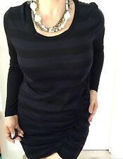 COUNTRY ROAD WOMENS DRESS STRIPED BLUE BLACK SHORT LYOCELL KNEE LNT SZ L