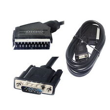 2.5M Scart to 15Pin S-VGA RGB Male HD TV LCD Cable Lead