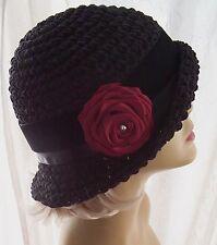 NWT Black Faux Suede Handmade Flapper 20s Cloche Hat Beading Pearls Satin Velvet