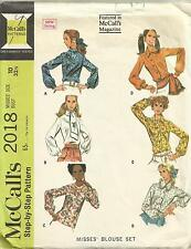 4 Styles Vintage 60s Blouse Tops Long Sleeve McCalls 2018 Sewing Pattern Sz 10