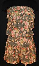 VTG 90sBoHO Hippie CHIC Strapless Halter Floral Romper Jumper Shorts Sz S