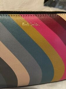 Paul Smith Leather Swirl Clutch Bnwt Stripe New Tags Care Card Dust Bag Genuine