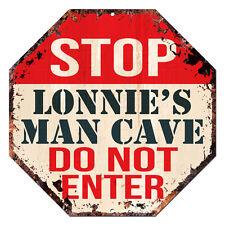 OTGM-0244 STOP LONNIE'S MAN CAVE Tin Rustic Sign Man Cave Decor Gift Ideas
